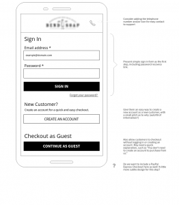 Checkout wireframe - step 1