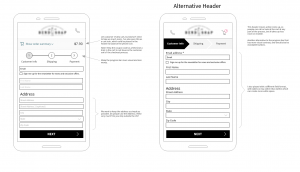 mobile checkout wireframe - alternative headers